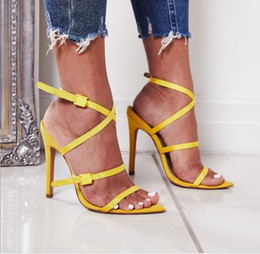Woman Fans Australia - Europe and the United States Fan solid color cross ribbon plastic buckle sexy pointed high-heeled sandals have 40 yards