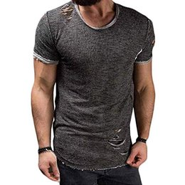 $enCountryForm.capitalKeyWord Australia - 2019 Men's Slim Fit Short Sleeves T-Shirt Muscle Casual Round Neck Ripped T-Shirts Tops Solid Colour Stylish Top Tee