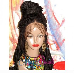 ombre braiding hair 16 inches UK - Fully handtied braids cornrow wig black brown blonde color braided box braids Lace Front Wig with baby hair for America Africa women