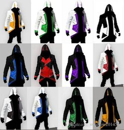 Wholesale assassins creed hoodie colors for sale – custom Hot Sale Custom Fashion Assassins Creed III Connor Kenway Hoodies Costumes Jackets Coat colors choose direct from factory