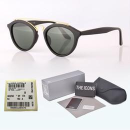 $enCountryForm.capitalKeyWord Australia - High quality Cat Eyes Sunglasses Club Round Vintage brand designer Men Women Sun Glasses UV400 Glass Lens With free cases and label