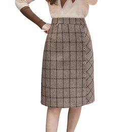 8cd8268db8c5 Woolen Plaid Skirt Women Winter 2018 New Single Breasted High Waist Midi  Long Skirt Plus Size Female A Line Irregular Faldas