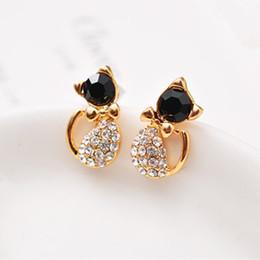 $enCountryForm.capitalKeyWord NZ - E057 Hot Sale Cute Black Crystal Cup Cat Stud Earrings for Women Lovely Rhinestone Cat Stud Earrings Fashion Jewelry Wholesale