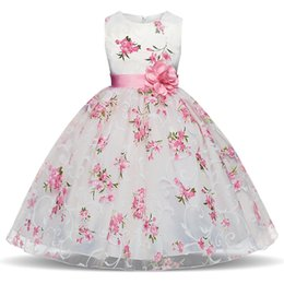 wedding dress for years kids 2020 - Flower Girl Dress Pink Floral 2019 Summer Girls Princess Dresses for Wedding Party Gowns Kids Clothes Size 3-8 Years dis