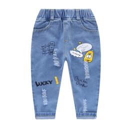 Plaid Kids Jeans Australia - good quality Children Jeans Pants Autumn Kids Boys Cartoon Denim Pants Boys Jeans Trousers Broken Hole Long Pants For Boys 2-6Y