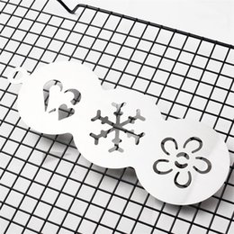 decorating coffee tools Australia - 3in1 Stainless Steel Coffee Decorating Stencils Template Barista Cappuccino Latte Cupcake Art Sugar Duster Powder Shaker Tool wh1262