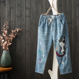 1e7dcf6045 embroidery cartoon patches 2019 - Cute Patch Design Embroidery Cartoon High  Waist Jeans Woman Casual Half