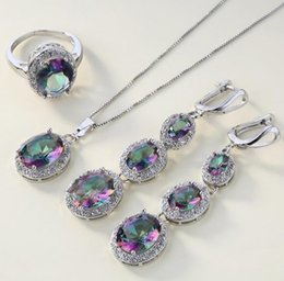 $enCountryForm.capitalKeyWord Australia - 4Pcs Set Multicolor Crystal Faux Inlaid Ring Earrings Pendant Necklace Jewelry Women Geometric Design Wedding Jewelry Dropship