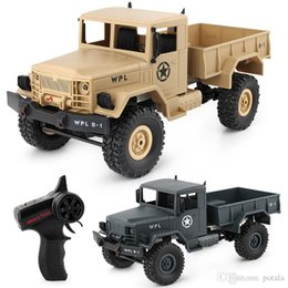 Rc Batteries Wholesale NZ - 1:16 WPL Remote Control Military Truck 6 2.4G 4WD Wheels Drive Off-Road RC Car 4WD battery-powered Climbing Car RTR Toy for Children Kids