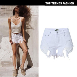 $enCountryForm.capitalKeyWord Australia - Frayed Edge Ripped Denim Shorts 2019 Great White Women Summer Shorts Fashion Glamorous Female Button Fly Shorts