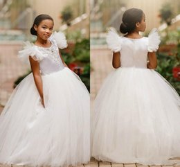 Custom Baby Tutus Australia - 2019 Vintage Flower Girls' Dresses Tulle Baby Infant Toddler Baptism Clothes With Tutu Ball Gowns Birthday Party Dress