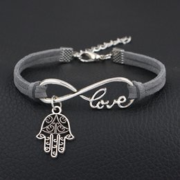 man evil eye bracelet Australia - 2019 New Infinity Love Evil Eye Hamsa Fatima Palm Pendant Bracelet For Women Men Gray Leather Suede Rope Velvet Jewelry Bijoux Drop Shipping