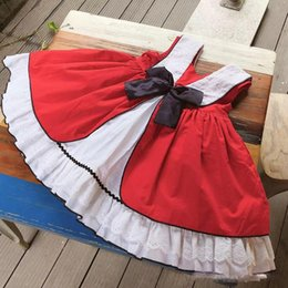 lolita clothes wholesale NZ - kids Girl designer clothes Dress Spain style Summer Pet Pan Collar Sleeveless Red color bow Design Lolita Dress Princess Girl Clothing Dress