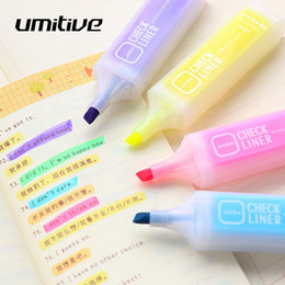 $enCountryForm.capitalKeyWord Australia - Umitive 6 Colors Cute Candy Color Highlighter Pen Watercolor Marker Pen For Painting Book Coloring Office School Supplies