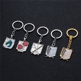 Titan Pendant Australia - Hot Anime keychain Attack on Titans badge pendant necklace Stainless steel key chain holder cover charms for motorcycle car keys