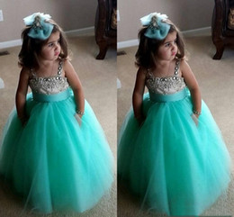 EvEning gowns for toddlErs online shopping - Cute Turquoise Flower Girls Dresses Spaghetti Crystal Beaded Tulle Ball Gown Toddler Infaint Pageant Dresses Evening Party Dress for Wedding