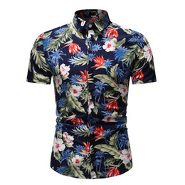 floral summer shirts for men NZ - Short Sleeve Shirt For Men Dress Shirts Floral Summer Shirts Casual Tops Tees Slim Fit Shirts Holiday Beach Wear Big Sizes EU Sizes M-XXXL