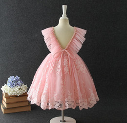 beaded embroidered lace Australia - Flower girl dresses for wedding kids lace gauze floral embroidery party dress children beaded V-neck falbala fly sleeve princess dress F9058