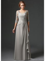 $enCountryForm.capitalKeyWord Australia - Silver 2018 Mother Of The Bride Dresses A-line 3 4 Sleeves Chiffon Lace Plus Size Long Elegant Groom Mother Dresses Wedding