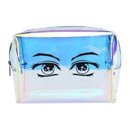$enCountryForm.capitalKeyWord NZ - Holographic Cosmetic Bags PVC Clear Laser Small Makeup Bag for Women Transparent Purse Waterproof Jewelry Beauty Storage Bag