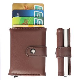 $enCountryForm.capitalKeyWord Australia - Stainless Iron Leather Men Wallet Id Credit Card Wallet Protector Holder Purse Case Cover Credit Card Holder