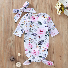 baby clothes cotton europe 2020 - Ins Europe Baby Infant Sleeping Bag Kids Florals Sleeping Bags Child Pajamas Nightclothes with Headband A597 cheap baby