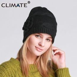 164229a69b1 CLIMATE Women Black Winter Hat Warm Beanie Cap Women Black Color Flower Knitted  Hat Beanie Nice Warm For Girls