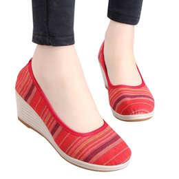 Red Wedges Shoes NZ - Designer Dress Shoes Women Girls Round Toe Wedges Striped Ethnic Style Loafers Casual Single Platform Heels #xtn