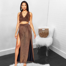 Suits Two Slits NZ - Women tie up back deep v-neck crop top + both side slit maxi skirts two pieces set sexy bodycon club party outfit suit Party Two Piece Dress