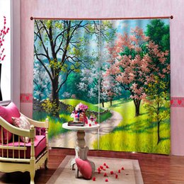 72 shower curtain UK - Pink Open In The Trees Shower Curtains Bathroom Curtain for living room bedroom blackout landscape Curtains