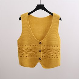China Knitted Pullover Women Sweater Short Vest 2019 New Autumn Spring Harajuku Sleeveless Jacket Student Waistcoat Loose Ladies Vest cheap ladies sleeveless sweaters suppliers