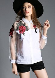 Wholesale 2019 new European and American women spring and summer embroidery flower shirt mesh organza long sleeve high end chiffon white shirt