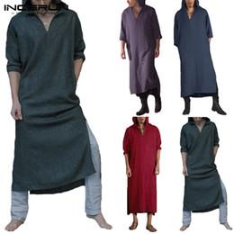 $enCountryForm.capitalKeyWord NZ - 2019 Robe Mens Hoodies Hiphop Robe Dressing Harajuku Kaftan Long Sleeve Cotton V Nevk Islamic Muslim Clothing Gown Kurta Suit