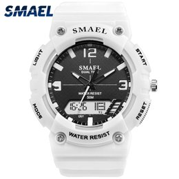 high quality led watches Canada - Sport Watches for Men SMAEL Quartz Watches Men High Quality Fashion Cool Black White Watch Big Dial 1539C Watch Digital LED