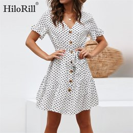 $enCountryForm.capitalKeyWord NZ - Summer Chiffon Dress 2019 Women Polka Dot Bandage A-line Party Dress Casual Boho Style Beach Dress Sundress Vestidos Plus Size T190703