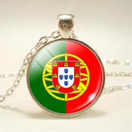 $enCountryForm.capitalKeyWord Australia - Hot Portugal National Flag World Time Gem Glass Cabochon Pendant Necklace Silver Long Sweater Chain Art Picture Choker Jewelry for Women Men