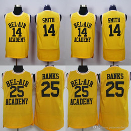Wholesale 14 WILL SMITH Jerseys The Fresh Prince Carlton Banks Jersey Basketball BEL AIR Academy Movie retro basketball Yellow Black Green Shirt