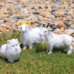 toy goats 2019 - Simulation plush sheep goat animal model small toy garden figure children gift holiday decoration home decoration cheap