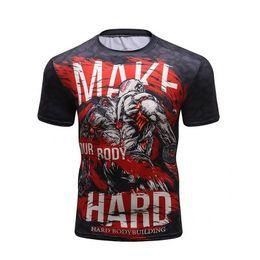 $enCountryForm.capitalKeyWord NZ - 2019 Mens Fitness Compression O-Neck crocodil short sleeves men T Shirt Animal 3D Prints MMA Rashguard Tights Skin Man T-Shirts