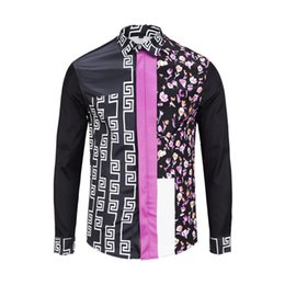 Mens patchwork plaid shirts online shopping - Patchwork pink Shirt Men s Colorful love Shirts Vintage medieval Long Sleeve mens shirts casual slim fit Golden flame clothes