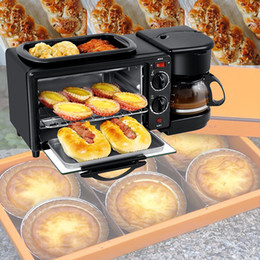 mini pizza NZ - 3 In 1 Electric Breakfast Machine Multifunction Coffee maker frying pan mini oven household bread pizza oven frying pan