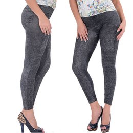 Stretchy Skinny Pants Australia - Lady Girl Black Sexy Faux Jean Skinny Jeggings Stretchy Slim Pants Plus Size Ankle-length Pants Women Jeans With High Quality