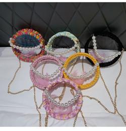 $enCountryForm.capitalKeyWord Australia - 6styles Feather pearl handbag transparent jelly bag weave with single shoulder cross body chain shoulder fashion lady party bag FFA2695