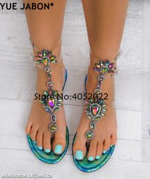 rhinestone gladiator flip flop NZ - 2019 Woman Sandals Women Shoes Rhinestones Gladiator Flat Sandals Crystal Chaussure Plus Size 43 tenis feminino Green Flip Flops MX200407