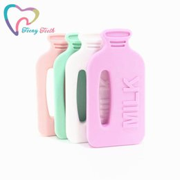$enCountryForm.capitalKeyWord NZ - wholesale 10 PCS Teething Necklace Silicone Milk Bottle Teether Pendant Rodents BPA Free Chewing Bottle Newborn Christmas Gift
