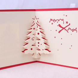 $enCountryForm.capitalKeyWord Australia - 3D Up Christmas Tree Greeting Card Red Cover Xmas Hollowing Gift Blessing Pop Up Greeting Postcard Free Shipping C7727