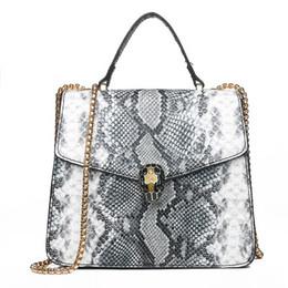3d8a5ef531a379 2019 new women's bag collision color one-shoulder bag retro snake head  small square bag chain oblique cross bags