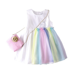 9affeb986 Girl Dresses Summer Lace Princess Sleeveless Dress Animal Printed Skirt Boutique  Baby Clothes with Peal Rainbow Party Dresses GGA1935