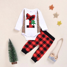christmas clothes Australia - Baby Boy Suit Toddler Baby Christmas Theme Clothing Kids Romper+ Red Plaid Pants Kids Fall Casual Outfits Clothing Set