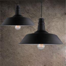 Ceiling Light Fixture Black Australia - Vintage Wrought Iron Lid Pendant Lights Black White Industrial Ceiling Pendant Lamps Loft Retro Hanging Light Fixture